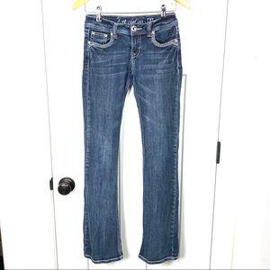 L.A. Idol 3 skinny bootcut 28x34 embellished jeans